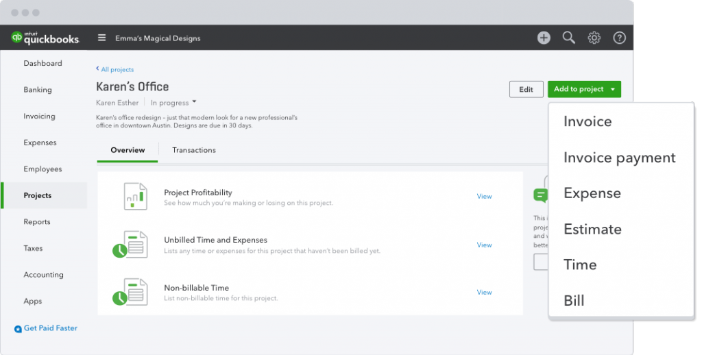 Introducing QuickBooks Projects